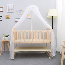 Solid Wood Baby Bed Newborn Children Sleeping Baby Crib Multifunctional Baby Playpen Crib Rolling Wheels Baby Cradle C01(China)