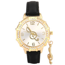 New Popular Famous Women Military Sport Retro Design Quartz Wrist Musical Note Tower Rhinestone Pendant Wrist Watch Clocks Hours(China)