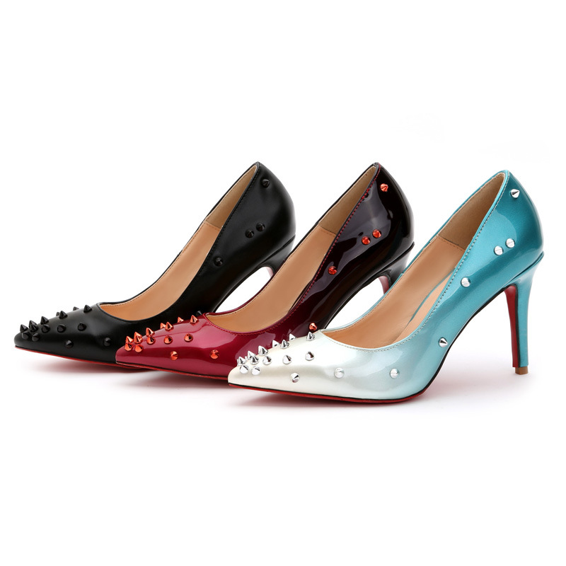 Ladys Sexy Hot Sale European and American Style Rivets Pointy Toe Red Bottoms Plus size 35-43 High heels Women Pumps Nigh Club<br>