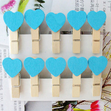 15packs/lot New  blue Heart  Wooden Clip Mini Paper Clip Fashion Special Gift office and school supplier wholesale