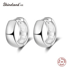 Shineland Punk Simple 925 Sterling Silver Small Circles Huggie Hoop Earrings For Women Men Brinco Bijoux Fashion Jewelry Gifts(China)