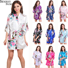 Women Silk Satin Night Robe Short Wedding Bride Bridesmaid Robes Floral Peacock Kimono Robe Sexy Bathrobe Fashion Dressing Gown