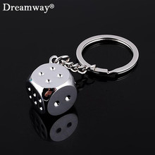 aquare dice keychain fashion gamble boson key chains cool man bag pendants charm female car accessory jewelry free shipping