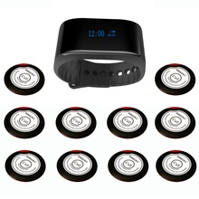SINGCALL wireless call system of waiters services cafe, church pager system 1 new bracelet watch pager plus 10 calling buttons