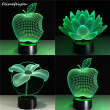 Feimefei 4 styles plant Lotus, apple, lotus, lucky tree LED Table Night Light 3D Optical Illusion USB Cable Desk Lamp Decoration