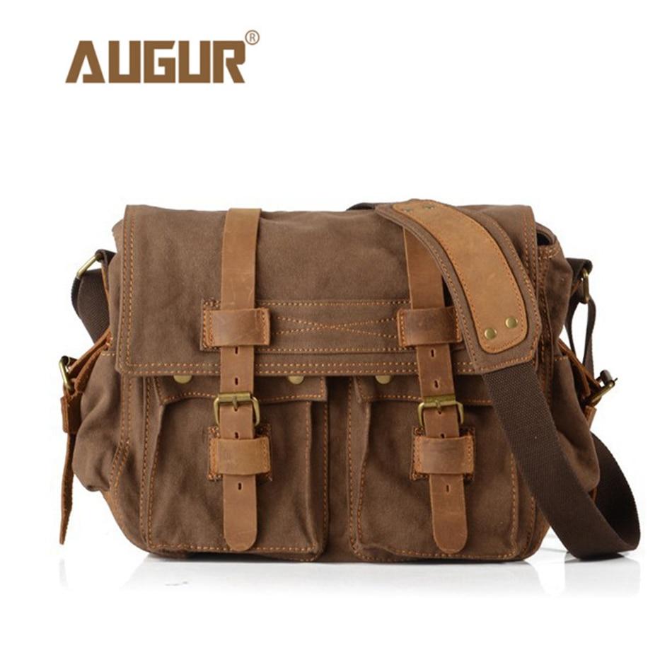 AUGUR Mens Canvas Crossbody Bag Military Shoulder Bags Vintage Messenger Bag Fashion Scholl Bag Tote Briefcase<br>