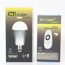 Mi Light CW WW LED Bulb E27 9W LED Lamp Light 220V 110V Led Spotlight Spot light Bulb RF Remote Control Dimmable Lampada led(China)