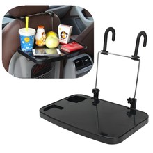 Foldable Car Seat Back Laptop Desk Computer Stand  Dinner Table Rack Fold Down Steering Wheel Work Cup Holder Shelf Black