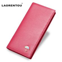 LAORENTOU Genuine Leather Women Wallet Exclusive Design Tree Pattern Cow Leather Long Women's Purse Lady Party Wallet