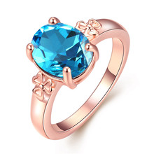 Dreams Austrian crystal blue ring rose gold color fashion charm queen jewelry top quality pretty Christmas gift