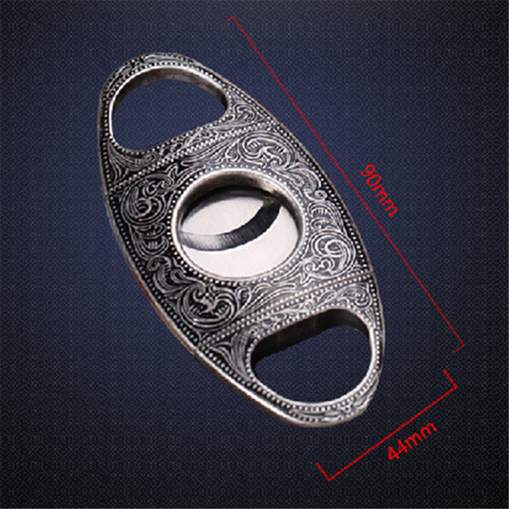 Double Blades  Guillotine Cigar Cutter Pocket Knife Scissors Slim Metal Stainless Steel <br>
