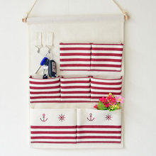 Zakka Style Hanging Type Storage Bag Linen Cotton Folding Red Color Bags For Sundries