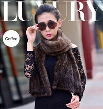 GTC228 women long fashion winter warm genuine mink fur scarves for women real fur wraps shawls knitted fur scarf  Free shipping