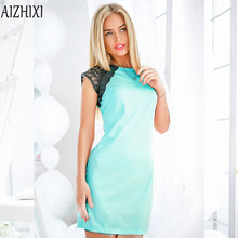 Aizhixi 2017Fashion Lace Patchwork Summer Dress Women O-neck Sleeveless Party Dresses Ukrai Ladies Casual Office Dress Plus Size
