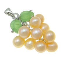 Factory Price Wholesale Rice Pearl Charm Real Natural Freshwater Pearl Green Grape Pendant Pink Pearl Pendant Women Jewelry(China)