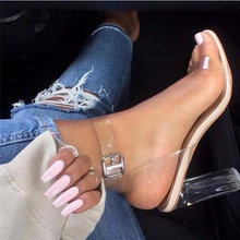 2017 new style summer shoes pumps transparent heel clear high heels sandals shoes woman high heels(China)
