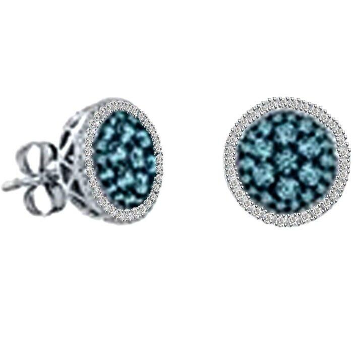 1/2 Ct. Real Blue Diamond Earrings In Sterling Silver
