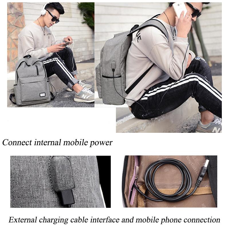 حقيبة مدرسية سوداء USB 6