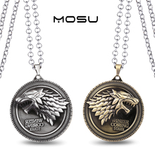 Game of Thrones House Stark Metal Necklace can dropshipping Charm Pendant Cosplay Accessories Jewelry Gift(China)