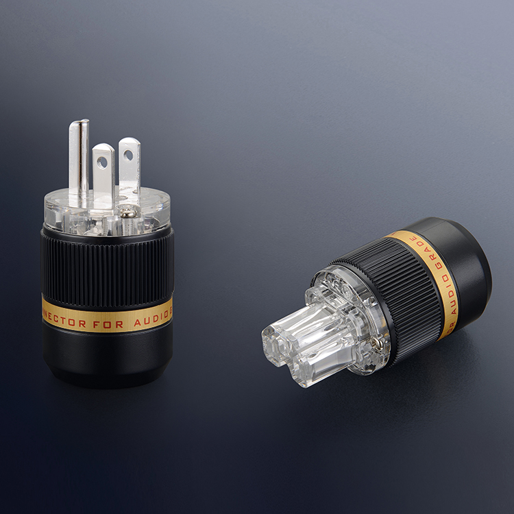 Pair Viborg VM511R+VF511R Transparent pure copper rhodium  Plated US Power cord  American Japan Hifi audio Power cable <br>