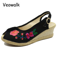 Floral Embroidered Open Peep Toe Women Casual Linen Wedge Sandals Summer Leisure  Med Heel Ladies Platform Pump Shoes Sandials