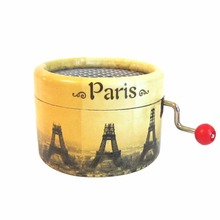 Eiffel Tower hand crank music box paper antique music box wedding souvenirs Angela's gifts free shipping Christmas presents(China)