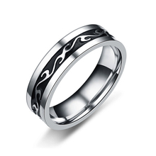 EKUSTYEE European American Style Retro Stainless Steel Dragon Tattoo Men's Ring For Men Silver Black Color Wide Punk Rings Anel(China)