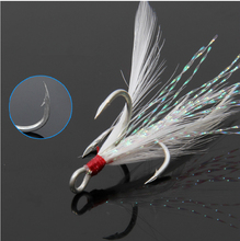 Anmuka 20pcs/lot Feather Hook Fish Lure Baits Fishing Treble Hooks DIY Fishing Accessories