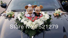 Free shipping 1couple 24cm stuffed Mickey and Minnie Mouse plush soft toys doll 1 couple,Mickey and Minnie toys for wedding(China)
