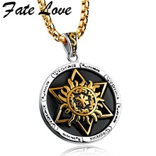 Fate Love Punk Fashion Hexagon Star Totem Figure Round Pendants Nacklaces 316L Stainless Steel Jewelry For Man Male Gifts FL1163(China)