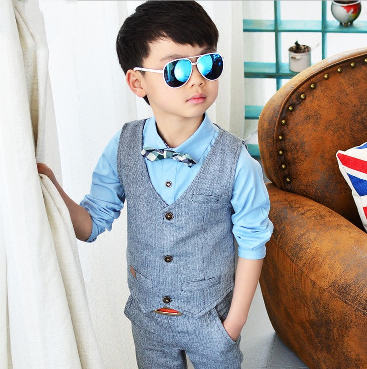 Hot Sale Brand Children Suit Kids Waistcoat Formal Birthday Dress Weddings Clothe Set Baby Boys Suits Shirt Vest Pants 3pcs Suit<br>