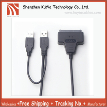 Free Shipping SATA USB 2.0 To SATA 15+7Pin Data And Power Connector Cable External Hard Disk Drive For 2.5 Inch HDD SSD(China)