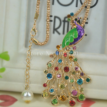Buy Peacock Sweater Bead Necklace Jewelry Crystal Women Long Necklace Pendants Rhinestone Chain Christmas Valentine's Gift for $2.28 in AliExpress store