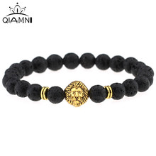 QIMING Rock Bead Bracelet Women Turquoise Matte Agate Picture Jasper Men Jewelry Womens Bangle Energy Beads Gold Lion Head