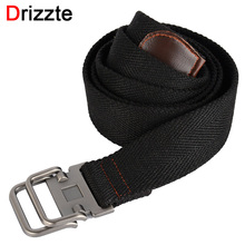 Drizzte 130-150cm Long Plus Size Mens Canvas Cloth Belts Web Belt Black Braided Waist Belt For Jeans XL XXL XXXL