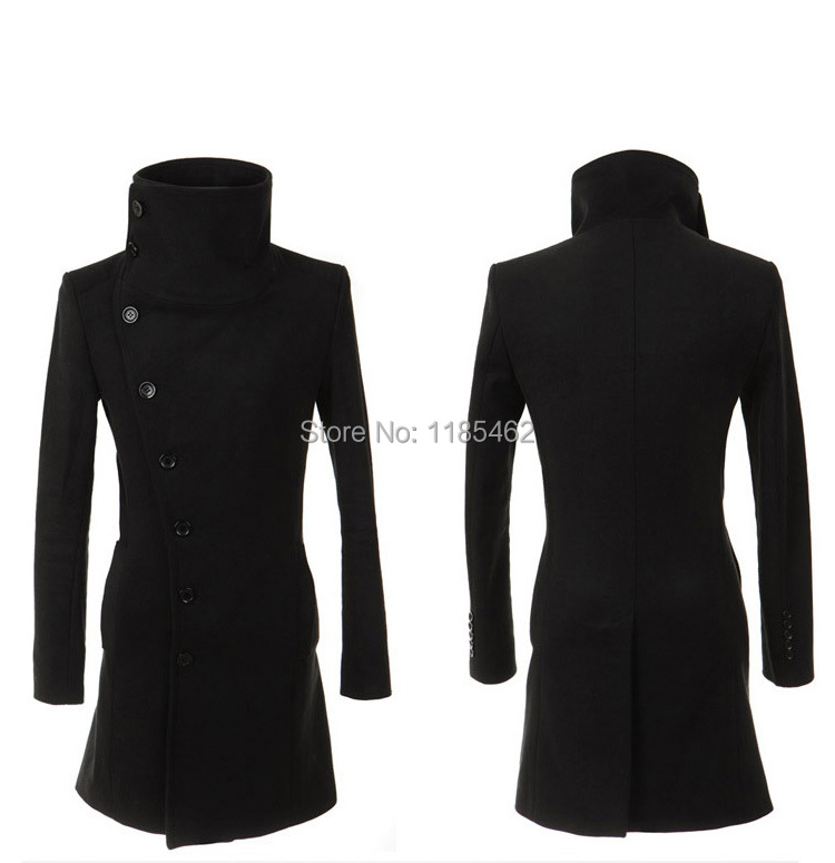 2017 New Winter mens long coat Men's wool Coat Turn down Collar sing Breasted men trench coat 49