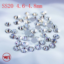 High Quality Flatback Strass Glass Material Clear Crystal ss3 to ss50 Non Hotfix Rhinestones For Nail Art(China)