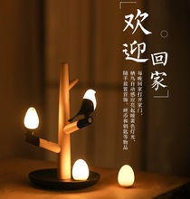 Auto Motion Sensor Bird Lamp, with Magnetic QI Wireless Charge in the form of Tree Branches, Removable Bird Night Lights