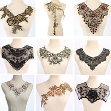 1 piece Craft Gold collar Venise Sequin Floral Embroidered Applique Trim Decorated Lace Neckline Collar Sewing(China)