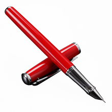 OASO 1pc Silver Clip Red Black White Fountain Ink Pen Metal High Quality Business Office Financial Pen 0.38mm EF Nib Stationery(China)