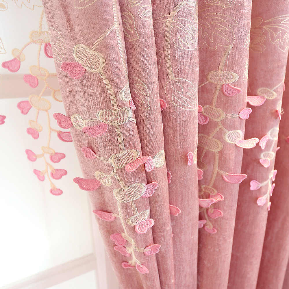 Princess Curtains for Living Dining Room Bedroom Simple European Fashion Embossed Chenille Lace Pink Curtains for Girl