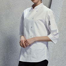 Black White Poly Cotton Short Sleeve Shirt Hotel Restaurant Professional Chef Uniform Bar Kitchen Catering Staff Work Wear B75