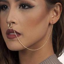 1pcs Titanium Tribal Hinged fake Nose Septum Clicker Nipple Ear Piercing Cuff Ring CZ Crystal Cartilage body Jewelry
