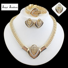 jiayijiaduo  African Fashion Costume Rhinestone Necklace Sets Top Quality Gold-color Wedding Bridal Costume Jewelry Sets
