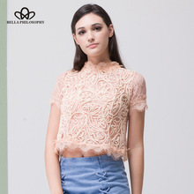 Bella Philosophy spring summer O neck Fashion cotton lace embroidery short sleeved women blouse shirt black zipper