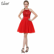 Cheap Red Cocktail Dresses 2017 A Line Halter Sleeveless Short Prom Dress Sequined Tulle Mini Party Dress Vestido De Festa Curto