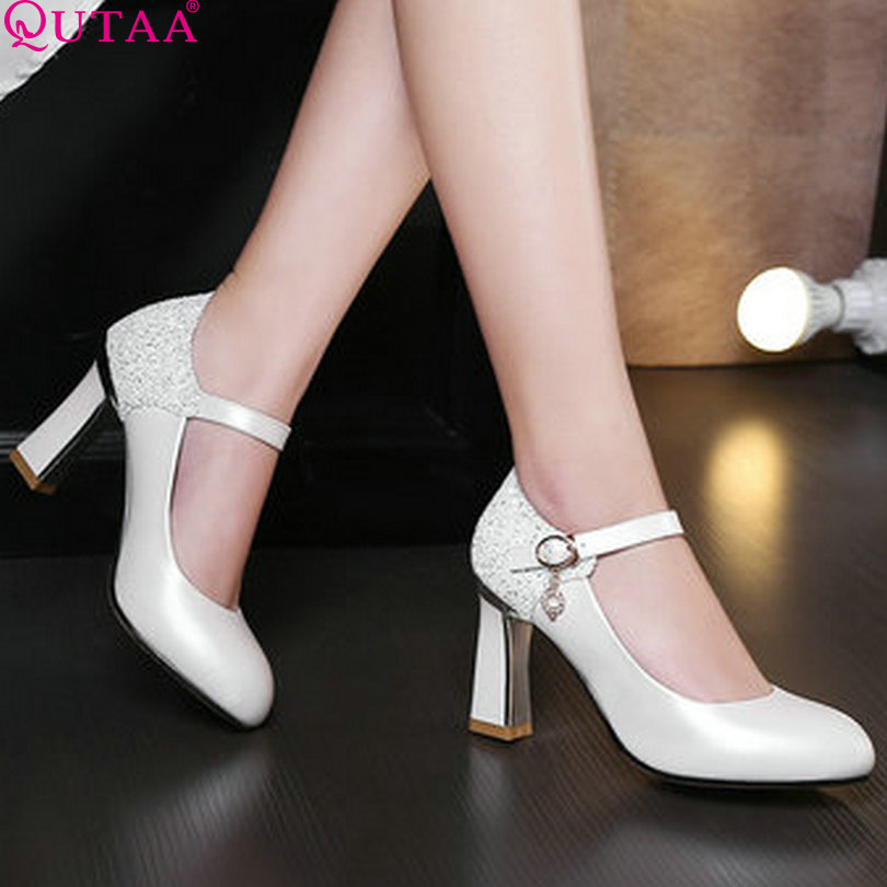 QUTAA 2017 Women Pumps Square High Heel Pointed Toe Mary Janes Platform Ankle Strap PU leather Ladies Wedding Shoes Size 34-43<br><br>Aliexpress