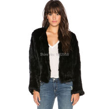 SJ427 HU&GH Real Rabbit Jacket Simple Style Hand Knit Fur Coat Best Quality