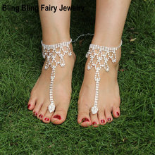 1 PCS Rhinestone Anklets Fashion Jewelry Bridal Beach Wedding Ankle Bracelets Chain to Toe, Free Shipping(China)