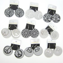 The Popular Pattern Tree Rose Heart Stars with Sparking Silver Round Discs Fashion Girl`s Earrings